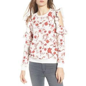 Rebecca Minkoff Floral Cold Shoulder Sweater